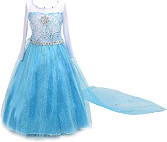 Dressy Daisy Girls' Ice Princess Dress Costume Birthday Halloween Christmas Fancy Party Outfit Size 2-12