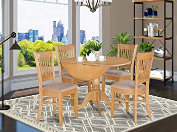 DLVA5-OAK-C 5 Pc small Kitchen Table set-drop leaf Table and 4 dinette  Chairs