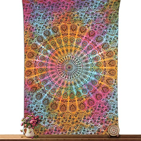 Bed Cover Cotton Twin Size Tapestry Fabric Multi Fabulous Home Decor Indian Art