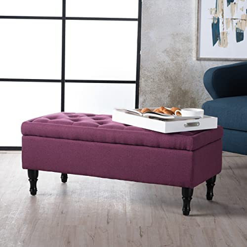 Christopher Knight Home Living Constance Tufted Top Fabric Storage Ottoman Dark Fuschia