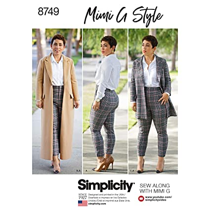 405efdd78 Simplicity Sewing Pattern 8749 A Misses'/Women's Mimi G Style Coat and  Pants, Size 10-12-14-16-18, by Simplicity Creative Patterns