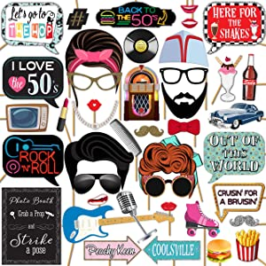 1950s Sock Hop 50's Rock and Roll Party Photo Booth Props 41 Pieces with Wooden Sticks and Strike a Pose Sign by Outside The Booth