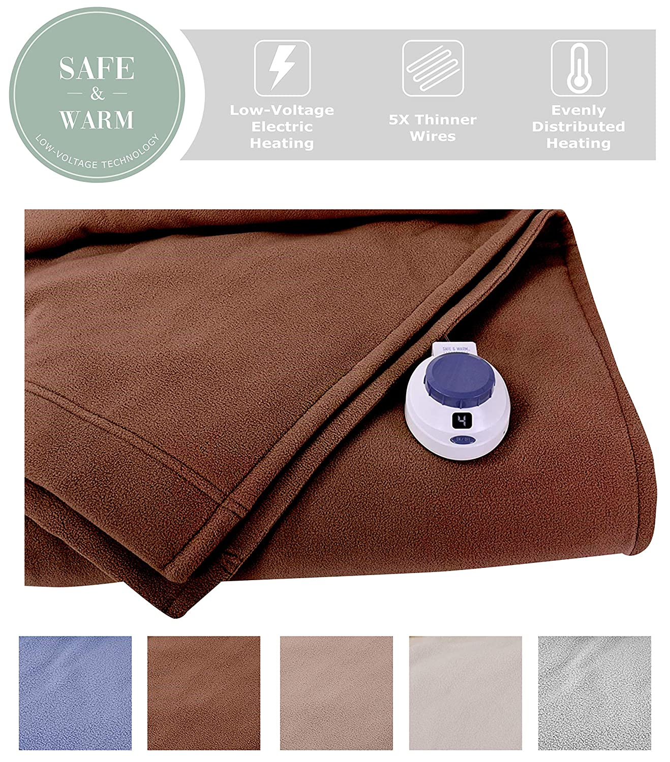 SoftHeat by Perfect Fit | Luxury Fleece Electric Heated Blanket with Safe & Warm Low-Voltage Technology (Twin, Chocolate)