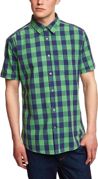 Esprit Regular Fit - Camisa de Manga Corta para Hombre, Color Vibrant Green 334, Talla 37/38: Amazon.es: Ropa y accesorios
