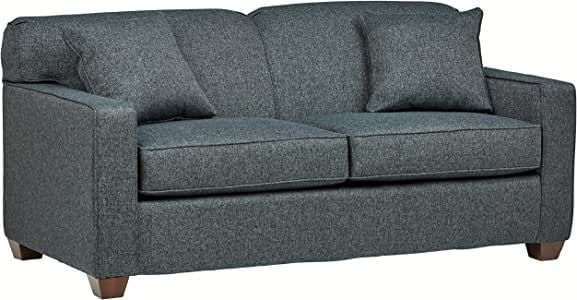 "Amazon Brand – Stone & Beam Fischer Full-Sized Sleeper Sofa, 72""W, Blue Fabric"