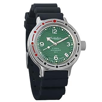 Vostok Amphibian automático Mens Reloj de pulsera Self-winding Militar buceo anfibios caso reloj de pulsera # 420348: Amazon.es: Relojes