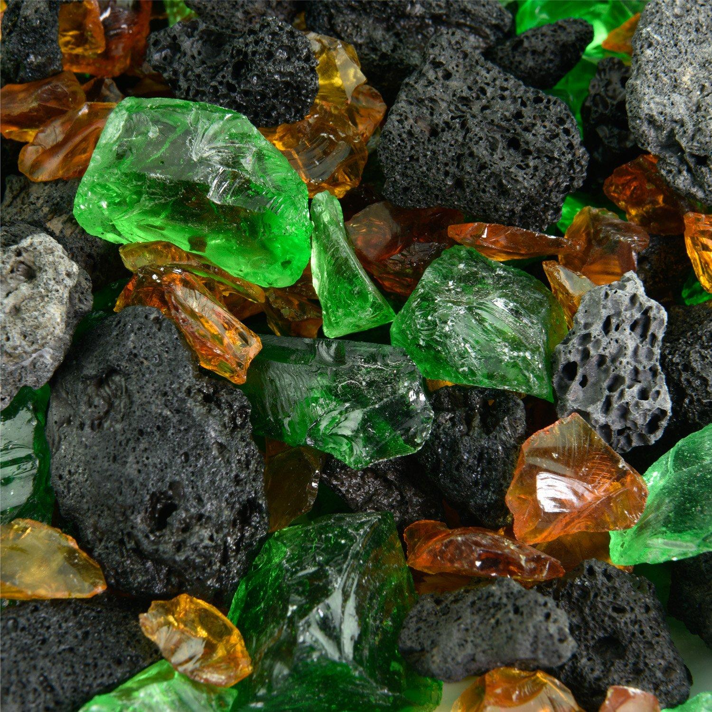 Amazon.com: Blended Fire vidrio y Lava Rock – mixtos Fire de ...