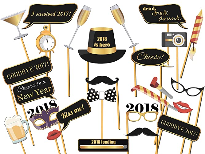 Beaufiful New Year Po Props Images Gallery 18pcs P2017 Glitter