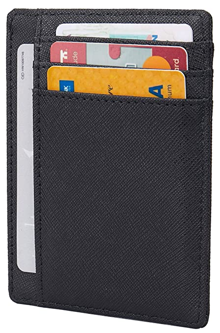 Small Rfid Blocking Minimalist Slim Credit Card Holder Pocket Wallets For Men Women by Lins Craft