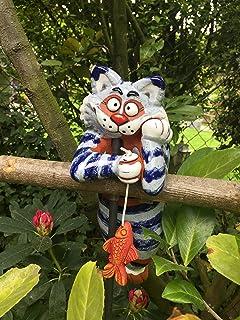 Keramik Gartenstecker Gartenkugel Blumenstecker Beetstecker Katze