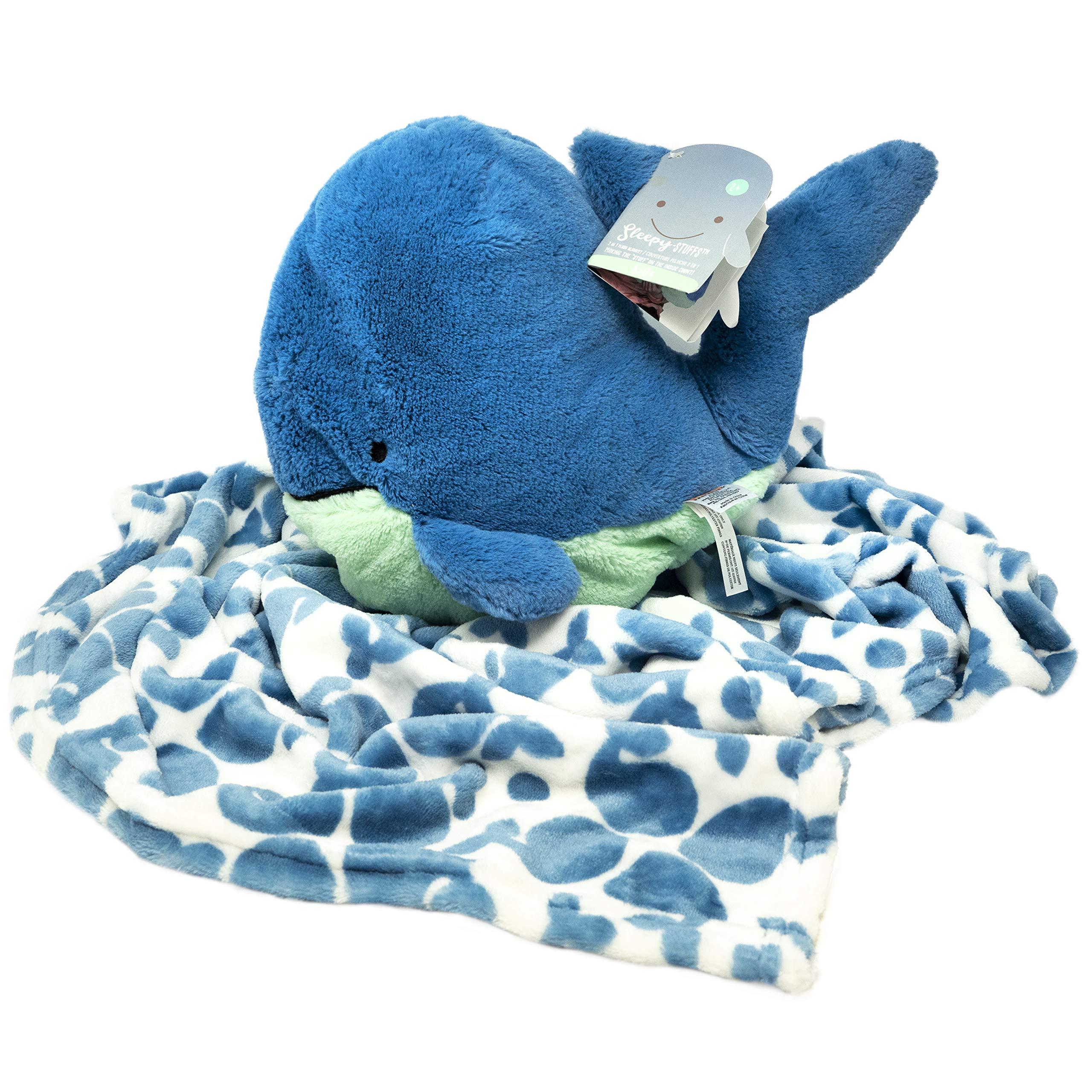 Kids Preferred Rise & Shine Sleepy Stuffs - Plush Stuffed Animal Blanket - Whale