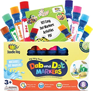 Washable 8 Colors Dot Markers Pack Set. Fun Art Supplies for Kids, Toddlers and Preschoolers. Non Toxic Arts and Crafts Supplies. Includes 200 Plus Fun Downloadable Coloring PDF Sheets (8 Pack)