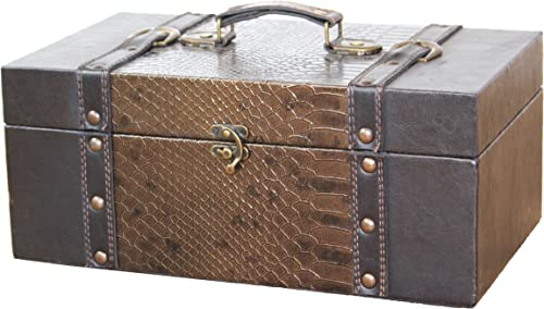 Quickway Imports Leather Trunk, Designer Treasure Chest Princess, Medium