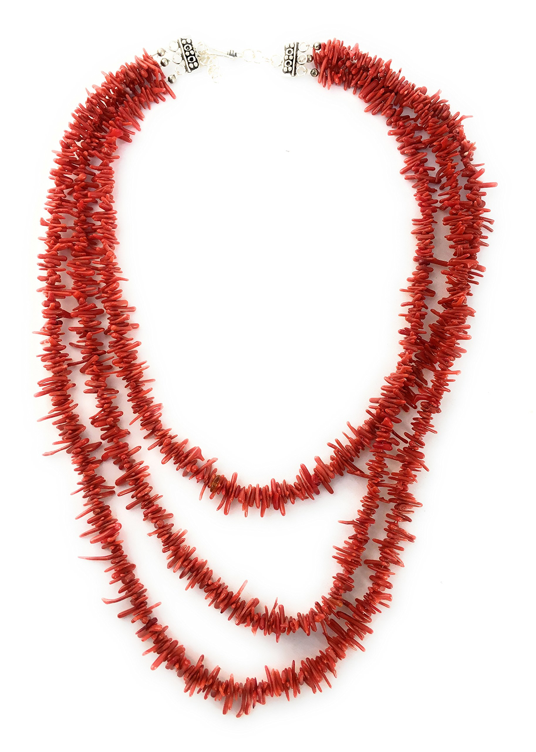 Christmas Gift for Mom Wife or loved Ones, Southwestern Red 3 Strand Italian Coral Sterling Silver 18'' Necklace