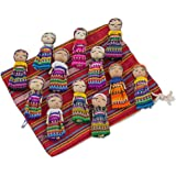 NOVICA Decorative Colorful Miniature Collectible Doll Cotton Figurines, Traditional Worry Dolls from Guatemala, 'The Worry Doll Gang' (Set of 12)