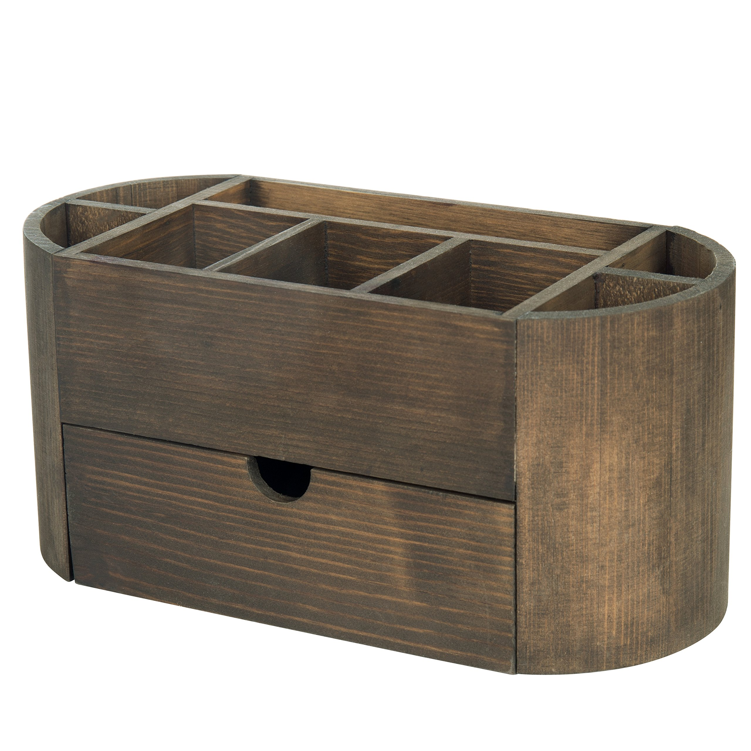 Dark Brown Wood Desktop Office Supplies Organizer with 8 Compartments & Storage Drawer