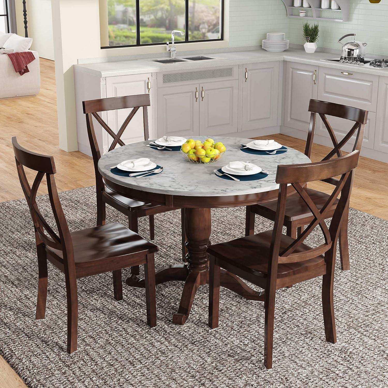 P PURLOVE 9 Piece Dining Set Wood Kitchen Table Set Round Dining Table Set,  Marble Table and 9 Chairs Set