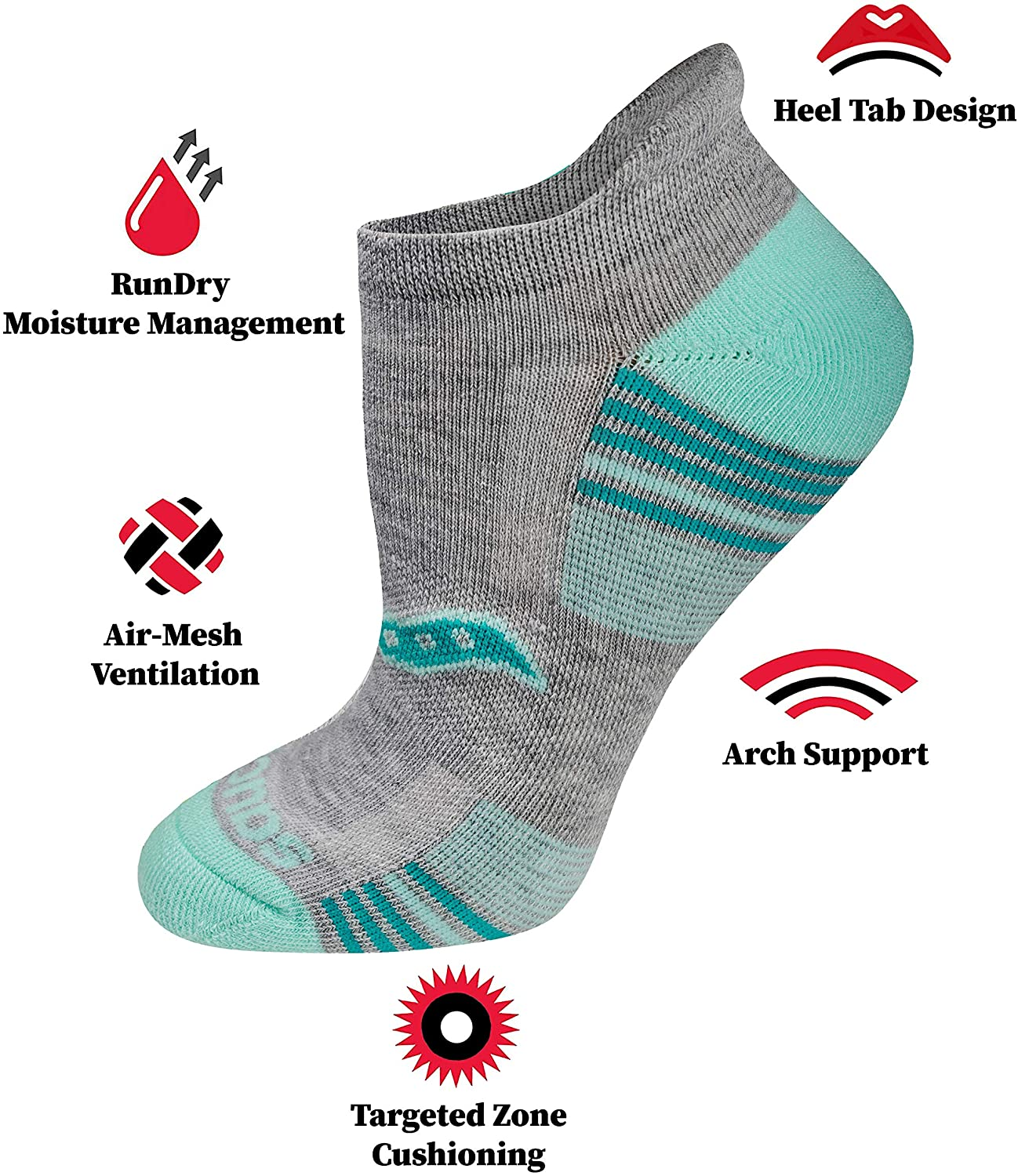 Saucony Women's Performance Heel Tab Athletic Socks (8 & 16 Pairs) at  Women's Clothing store
