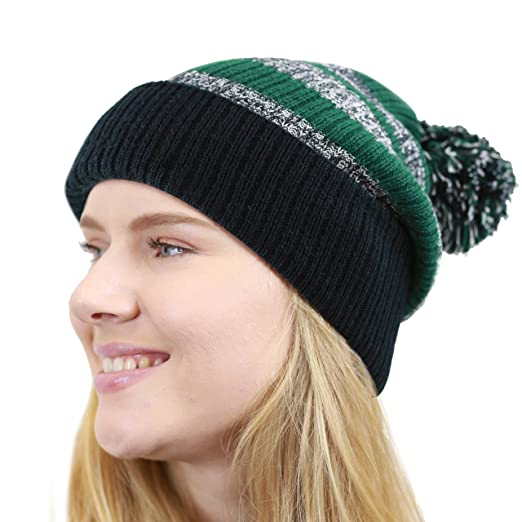 THE HAT DEPOT Striped Cuffed Knit Beanie Winter Hat with Pom (Black-Green) 06204869895