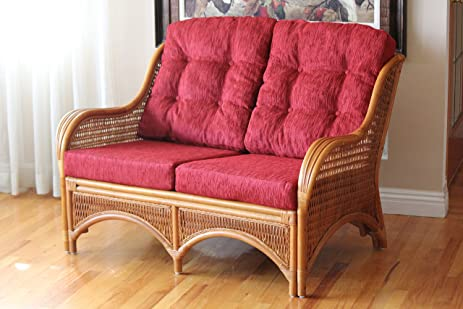 Amazon.com: Jam Lounge Loveseat Sofa ECO Natural Rattan Wicker ...