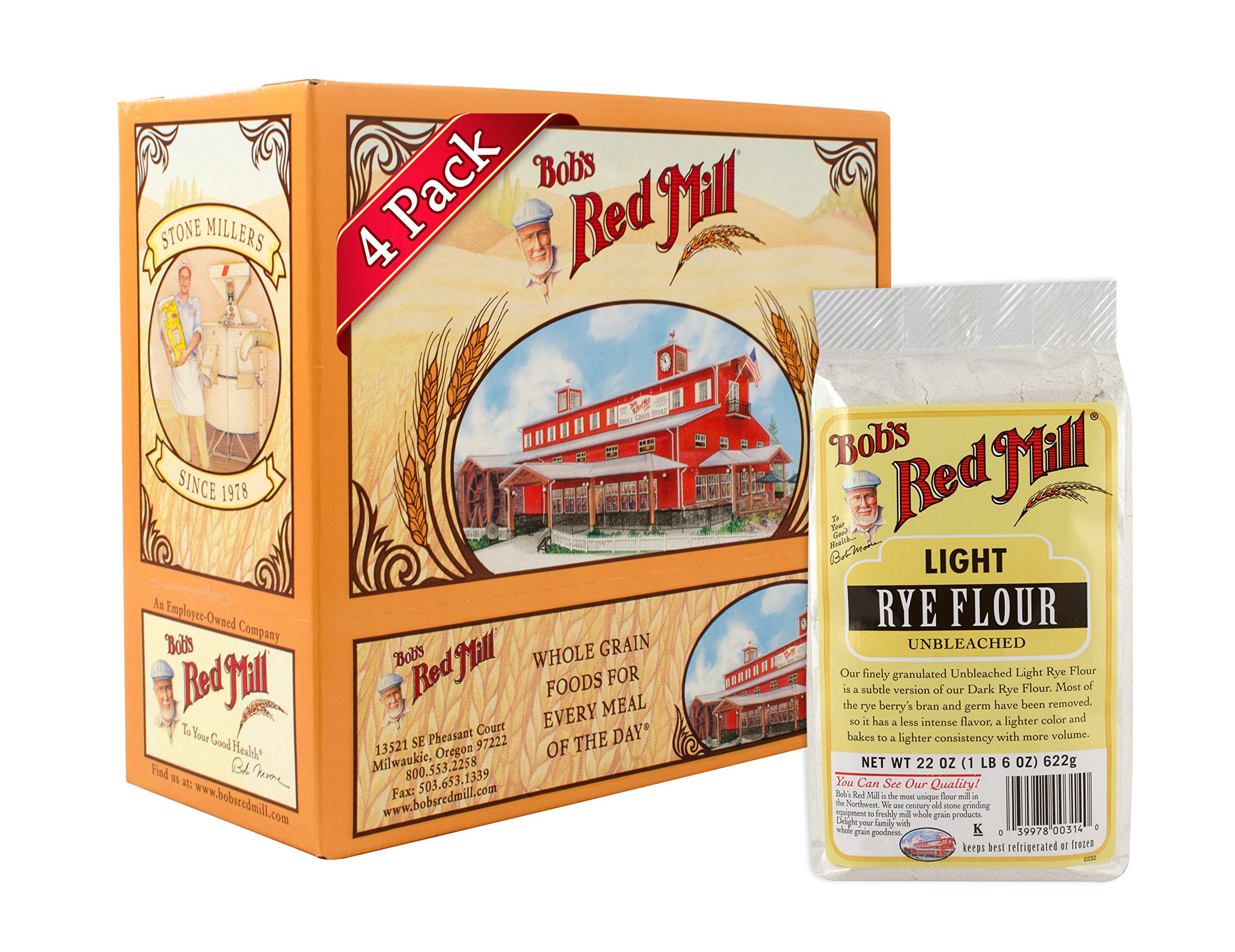 Bob's Red Mill Flour Rye Light (Unbleached), 22-ounces (Pack of4)