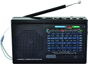SuperSonic SC-1080BT 9-Band Bluetooth Enabled Radio - AM/FM Channels, Rechargeable Battery - Black