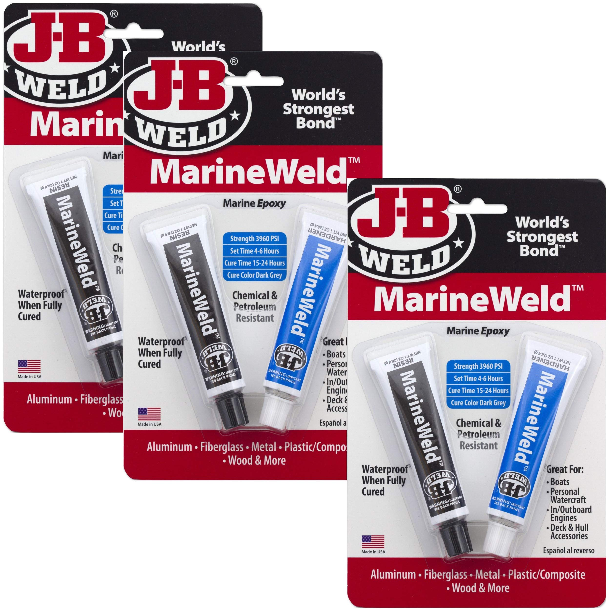J-B Weld 8272 MarineWeld Marine Epoxy - 2 oz, Pack of 3 product image