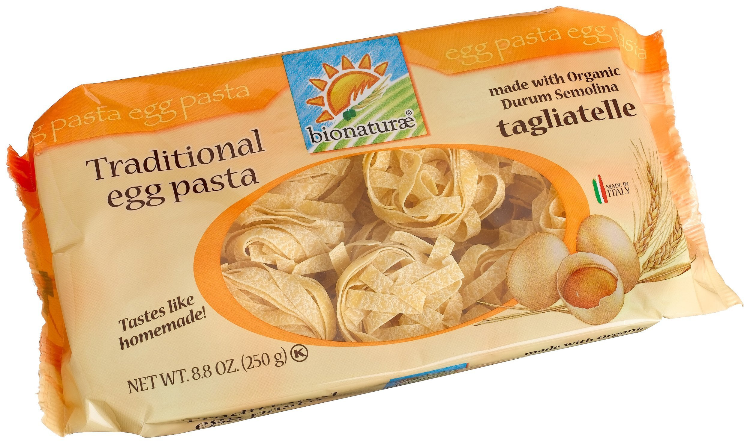 bionaturae Tagliatelle Egg Pasta, 8.8 Ounce Bags (Pack of 6)