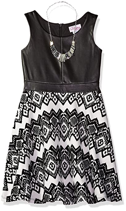 Bloome Big Girls' Sleeveless Knit Tribal Printed Dress with Necklace, Black/Ivory, 16