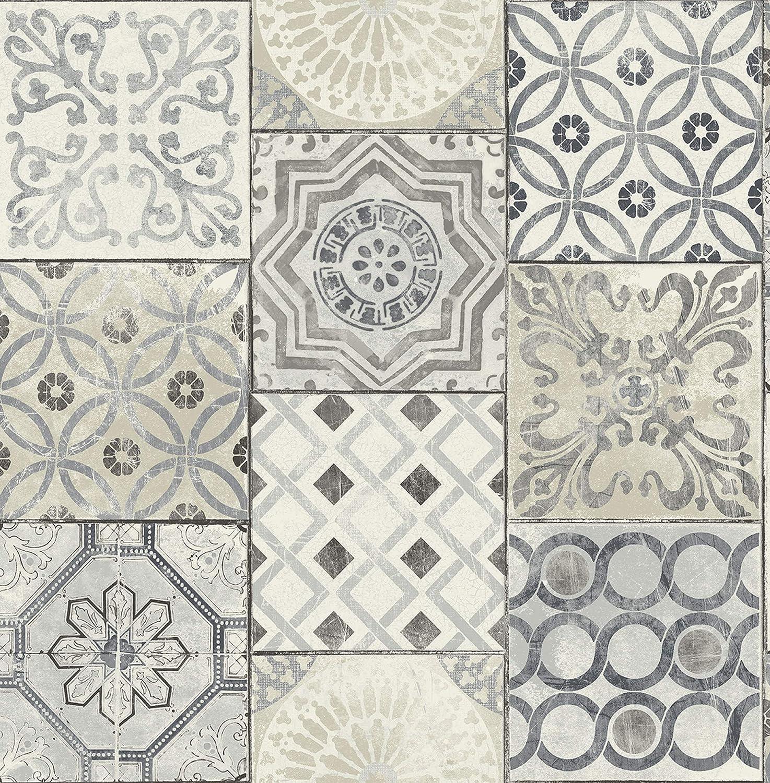 - Moroccan Tile Unpasted Wallpaper In Blue (Gray & Cream) - - Amazon.com