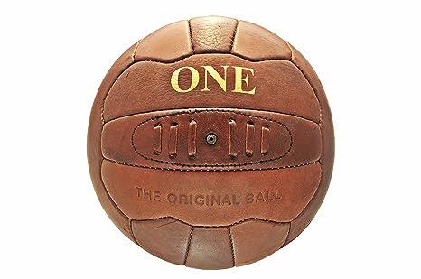 Pelota de fútbol de cuero retro ONE: Amazon.es: Deportes y aire libre