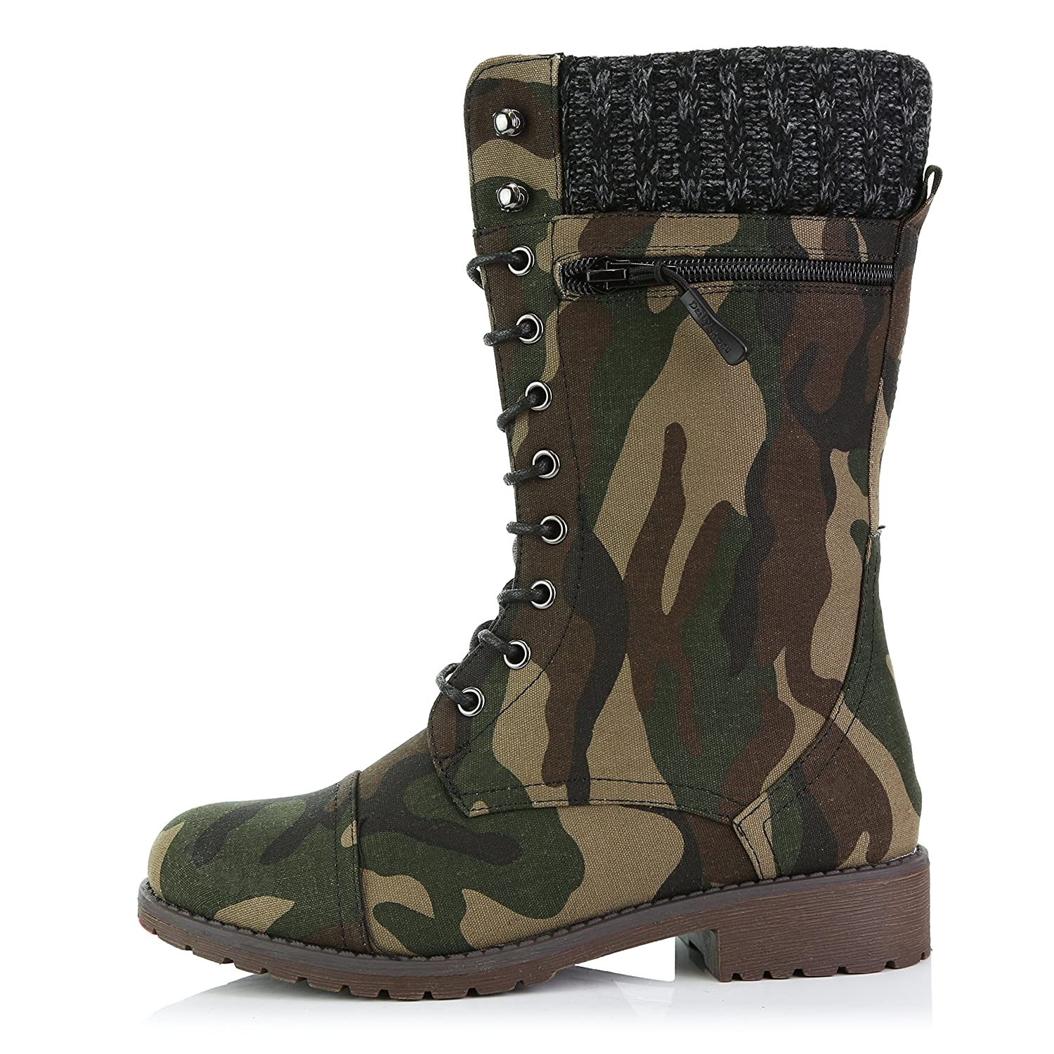 DailyShoes Women's Combat Style up Ankle Bootie Quilted Military Knit Credit Card Knife Money Wallet Pocket Boots B0155NB36G 7 B(M) US|Camouflage Cv