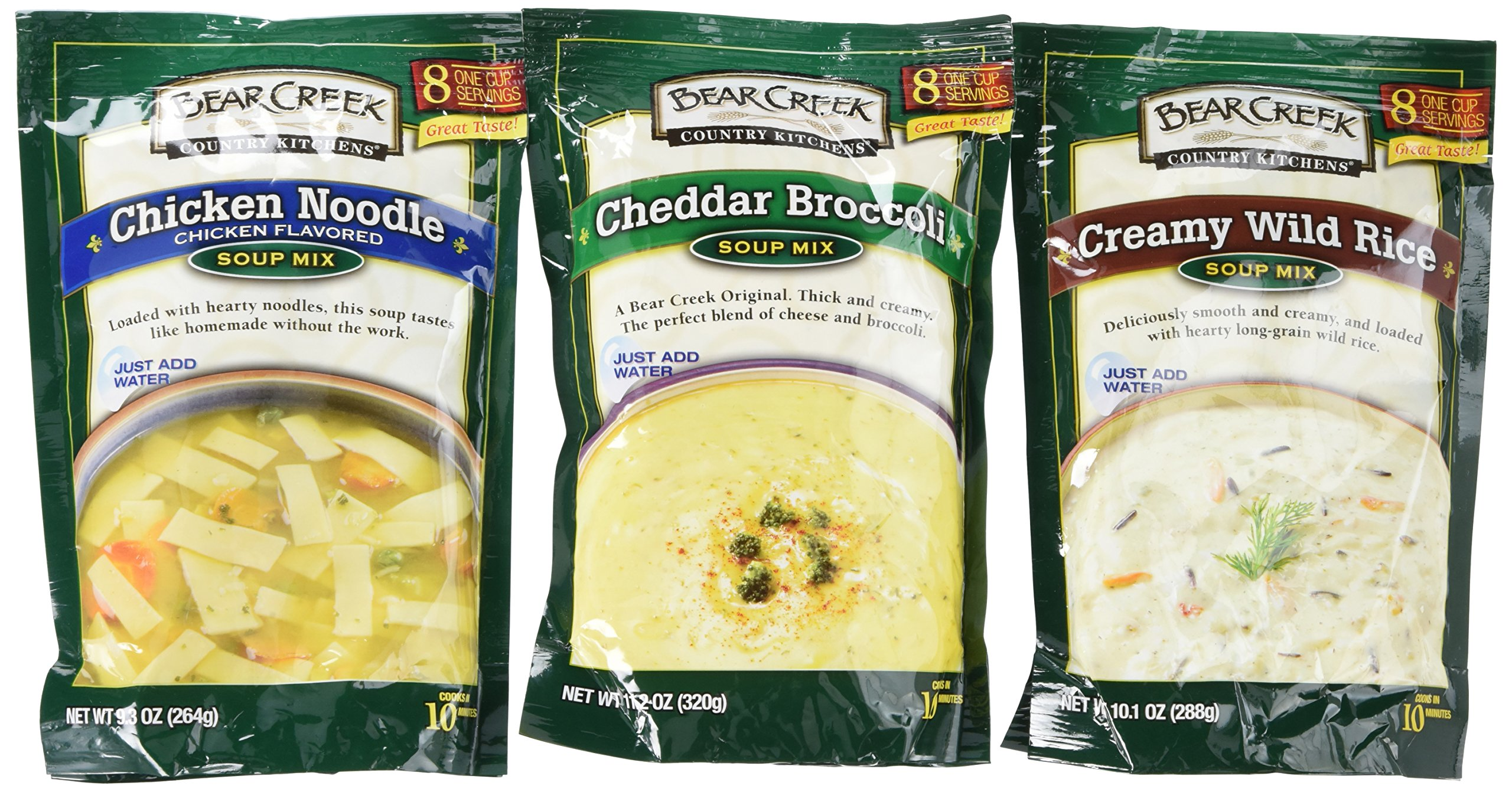 Bear Creek Country Kitchens Dry Soup Mix 6-Pack: 2 Chicken Noodle, 2 Creamy Wild Rice, 2 Cheddar Broccoli, Each Package Makes 8 Hearty One-Cup Servings, Just Add Water! by Bear Creek by Bear Creek