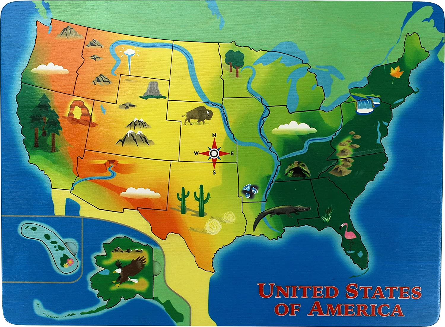 Learning Us Map.Amazon Com Lift And Learn U S Map Puzzle Made In Usa Toys Games