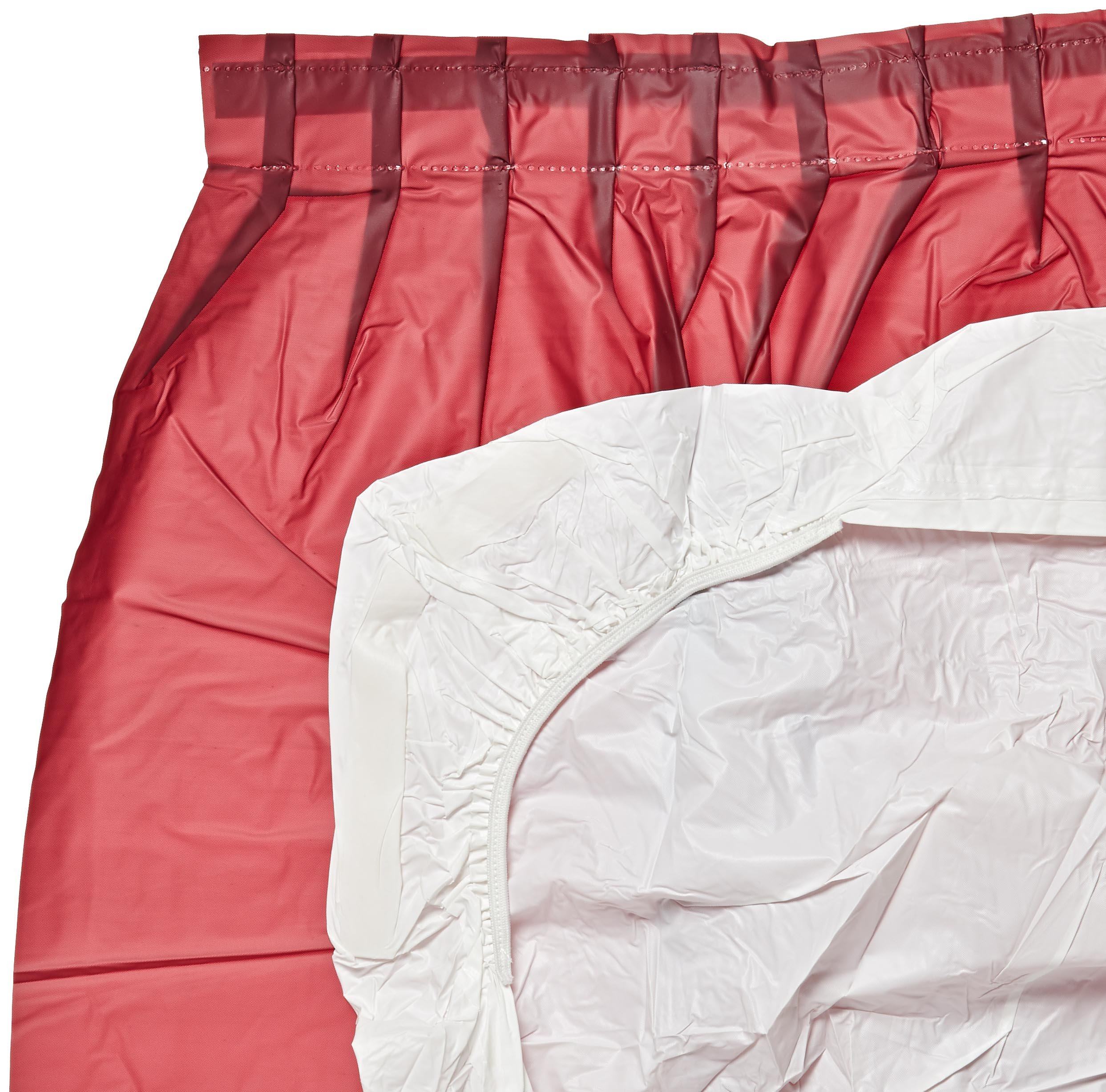 Kwik-Cover KS3096PK-M PKG. Maroon Kwik-Skirt With 30'' X 96'' White Cover Fitted Table Cover With Skirt, (1 full case of 10)