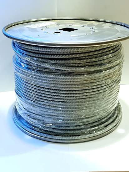 "Vinyl Coated Steel Aircraft Cable Wire Rope 1000/' 1//8/"" VC 3//16/"" 7x19 Black"