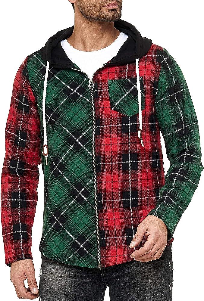 Red Bridge - Camisa Sudadera de leñador con Capucha a Cuadros de Colores para Hombres - Rojo: Amazon.es: Ropa y accesorios