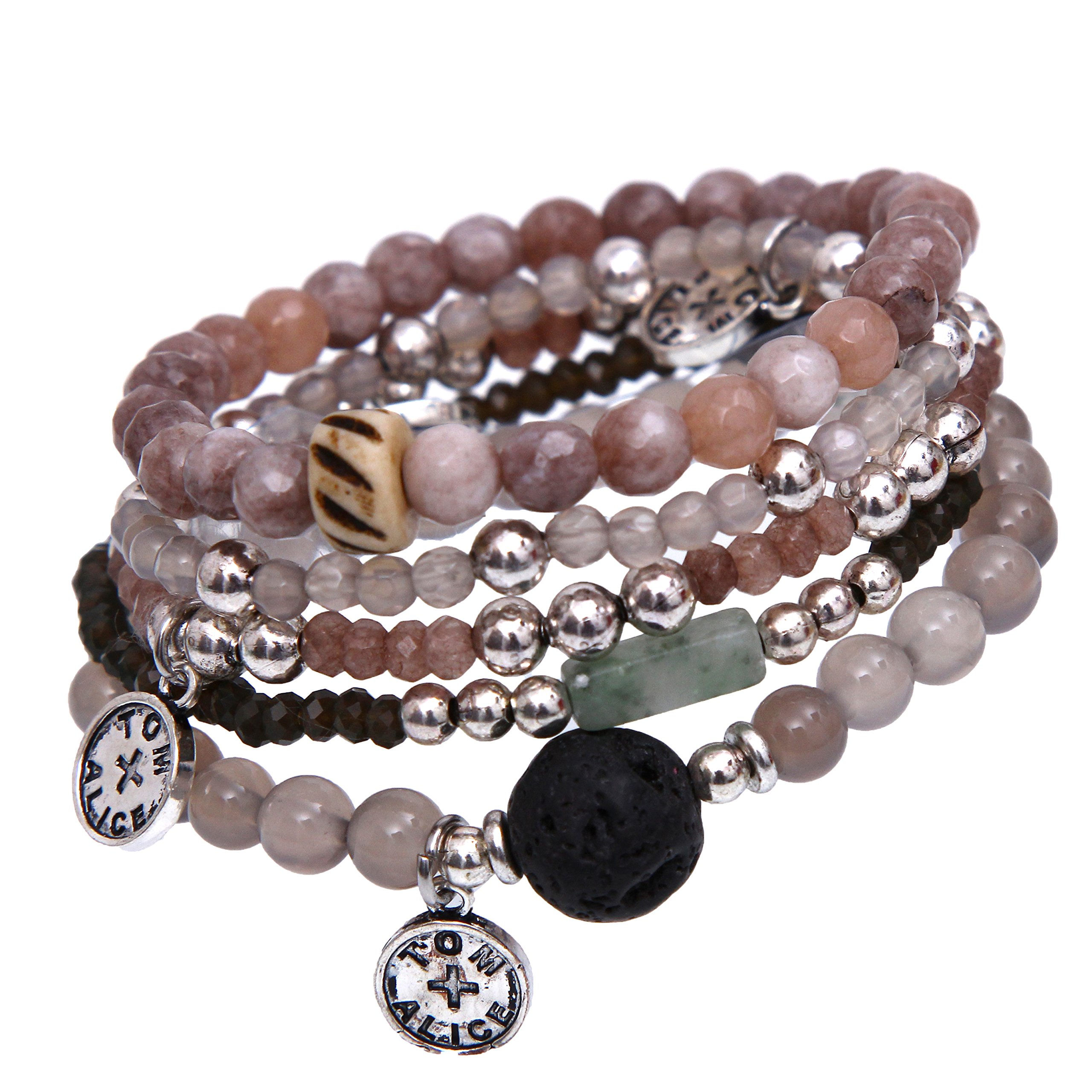 tom+alice Natural Stone Beads Stretch Bracelets for Women with Lava Stone Multilayer Bohemian Set Beaded Bangle Bracelets Grey Agate Silver