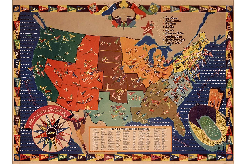 Amazon.com: History Prints College Football Map by Albert ...