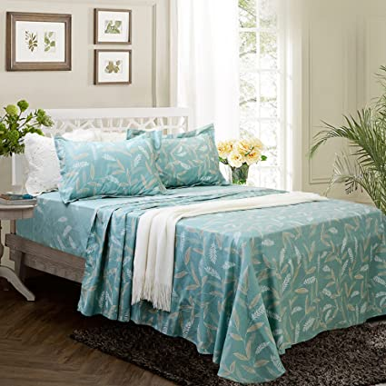 Elegant FADFAY Fashionable Teal Floral Bed Sheet Soft Set 100% Cotton Bed Sheets,King  4