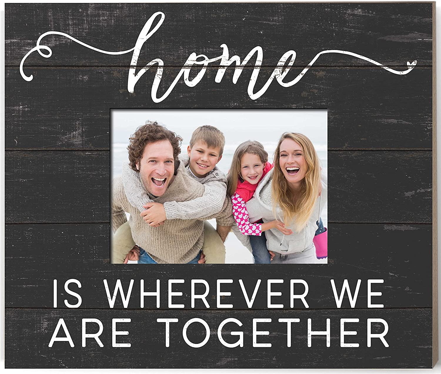 """Kindred Hearts 13.7""""x11.7"""" Home is Where Black Weathered Photo Frame"""