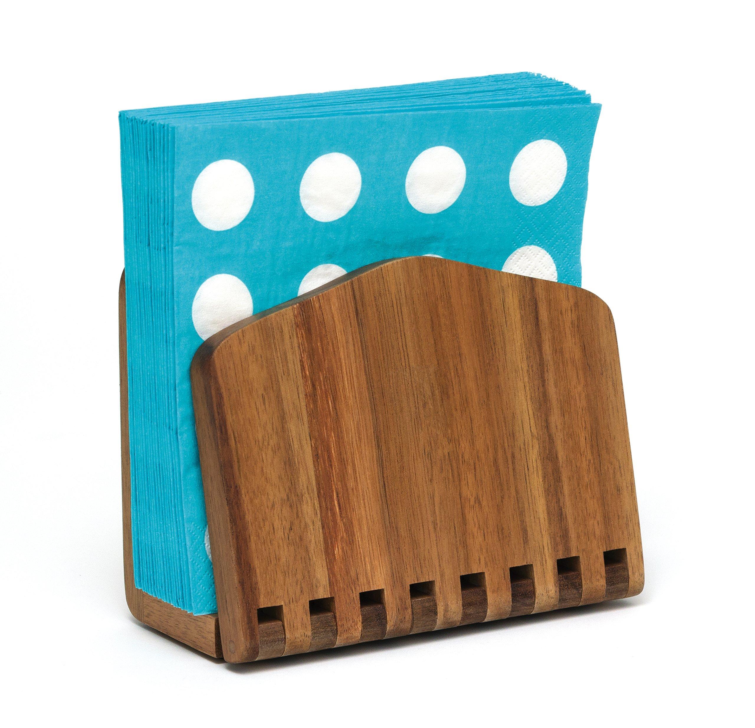 Lipper International 1160 Acacia Wood Adjustable Napkin Holder, 6-1/2'' x 3-1/4'' x 6'' by Lipper International (Image #2)
