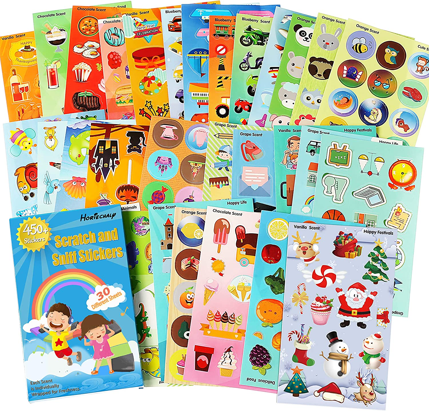 HORIECHALY Thanksgiving Day Sticker,30 Sheets no Repeat Pattern 6 Themes Scratch and sniff Stickers,Markers & Reward Sticker Fun!