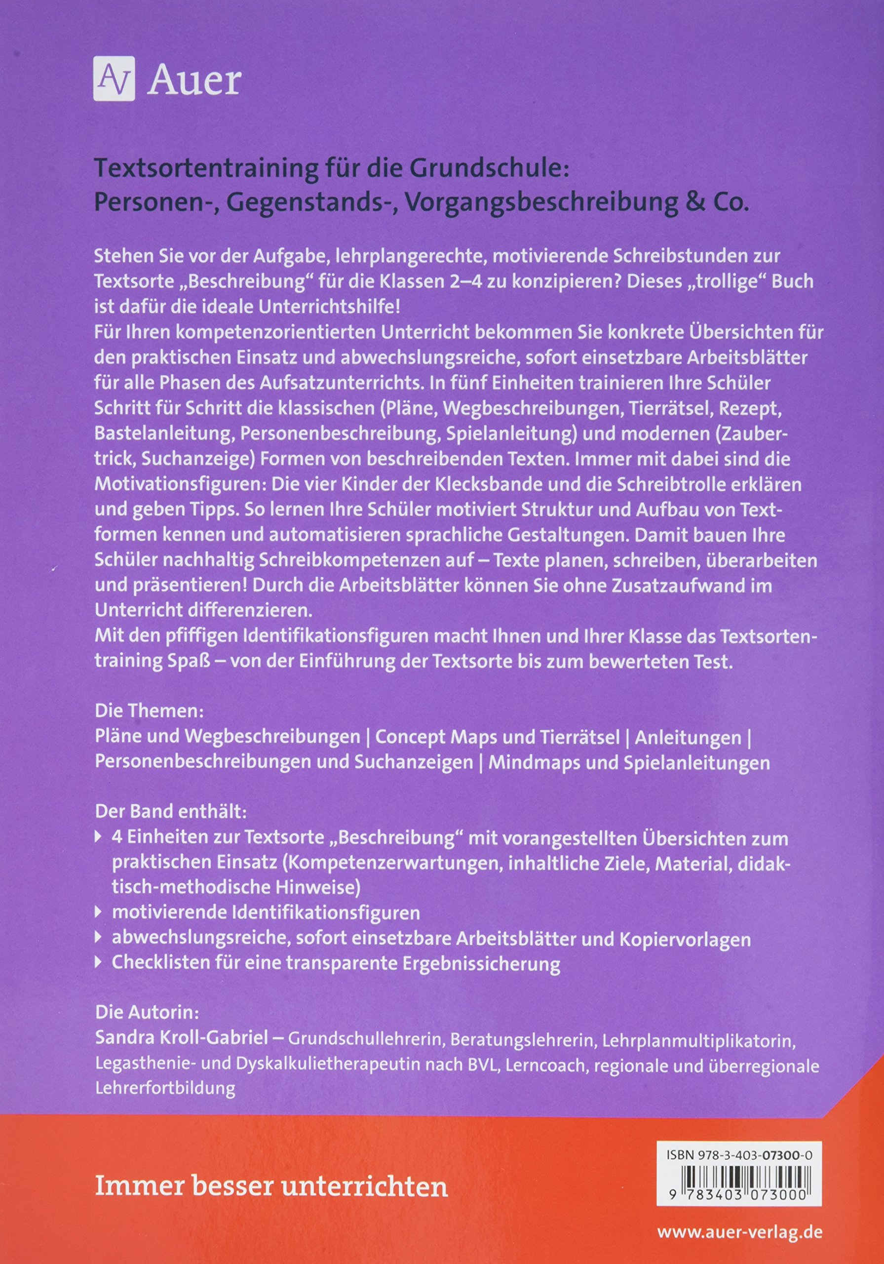 Textsorte Beschreibung für die Grundschule: Personen-, Vorgangs ...