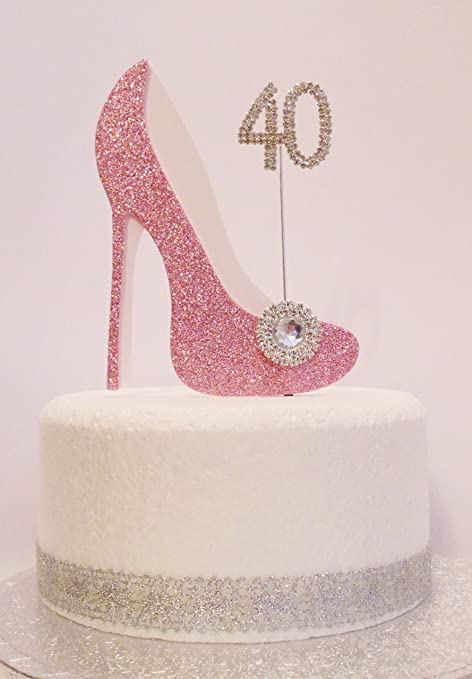 40th Birthday Cake Decoration Pink White Shoe With Crystal Embellishments And Diamante Number Non