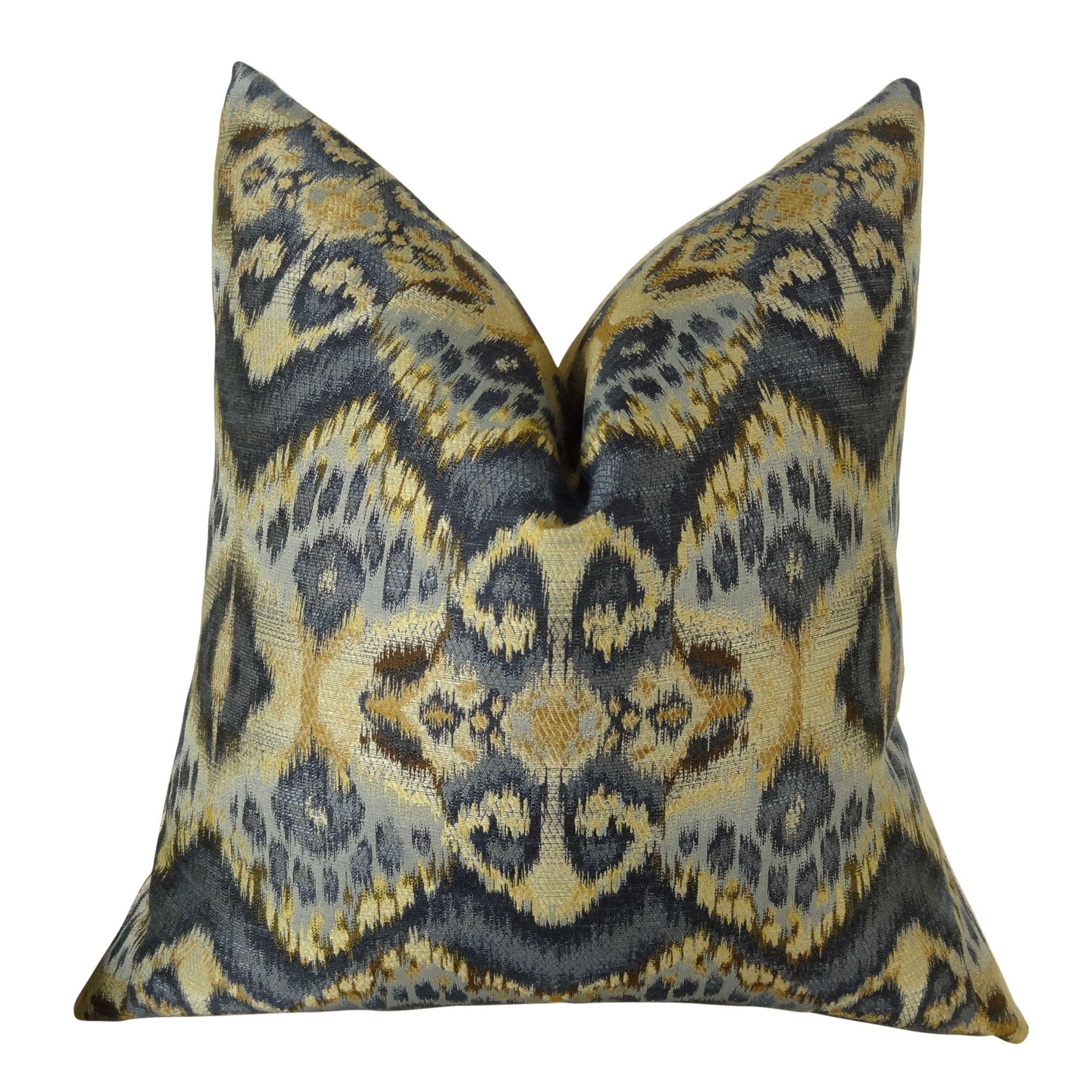 Thomas Collection Designer Zig Zag Ikat Throw Pillow - Navy Blue Tan Indigo Ikat Accent Pillow - Wavy Ikat Throw Pillow - Modern Ikat Pillow, Made in USA, 11082