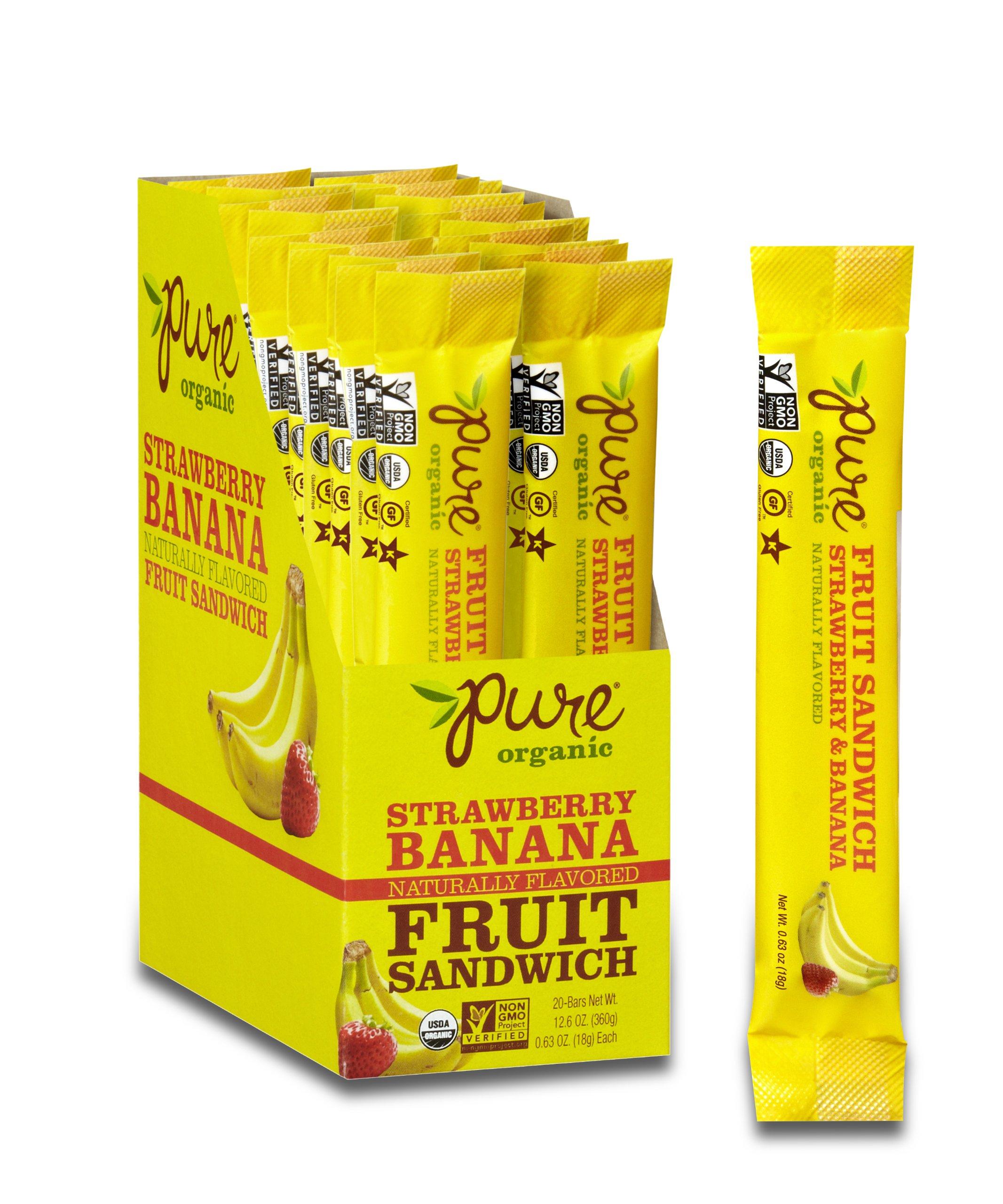 Pure Organic Strawberry Banana Layered Fruit Bar, Certified Organic, Gluten-Free, Non-GMO, Vegan, Kosher, Peanut Free,  No artificial Ingredeints Fruit Snack, 0.63 ounce (Pack of 20)