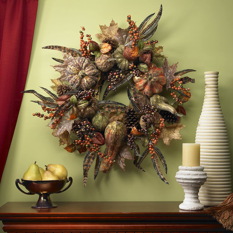 Autumn Nearly Natural 4907 Pumpkin Wreath 28-Inch