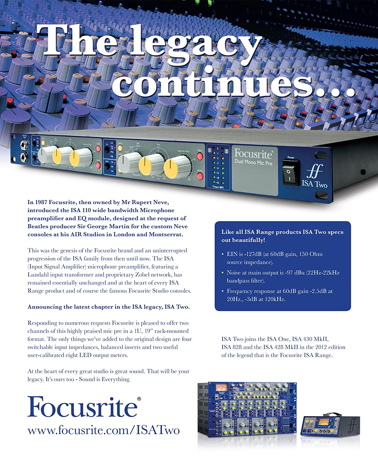 Focusrite Isa Two Classic Dual Mono Balanced Microphone Preamplifier Transformer Based Musical Instruments