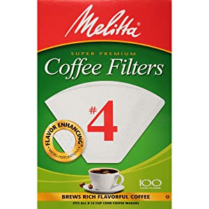 Melitta #4 Cone Coffee Filters, White, 100 Count (Pack of 6)